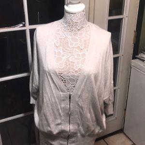 Lane Bryant white sweater with sheer back